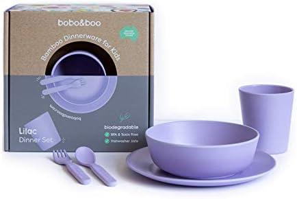 Amazon.com: Bobo&Boo - Vajilla infantil de bambú de 5 piezas ...