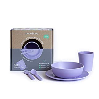 Bobo&Boo Bamboo 5 Piece Children's Dinnerware, Lilac Purple, Non Toxic & Eco Friendly Kids Mealtime Set for Healthy Infant Feeding, Great Gift for Birthdays, Christmas & Preschool Graduations