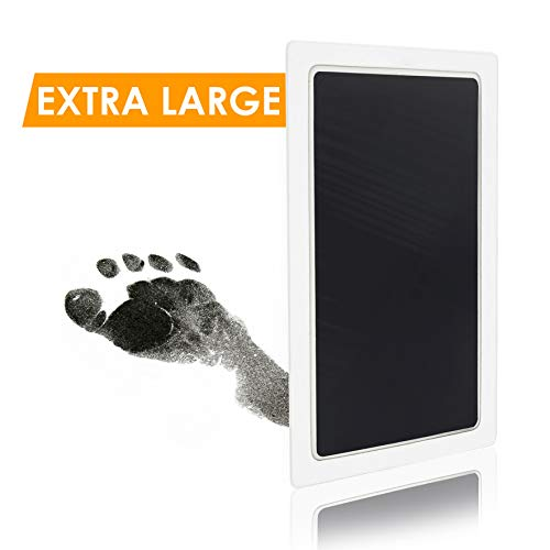 Extra Large Clean Touch Ink Pad for Baby Handprints and Footprints - Inkless Infant Hand & Foot Stamp - Safe for Babies, Doesn't Touch Skin - Perfect Family Memory or Gift - 2 Uses, Black Print Kit