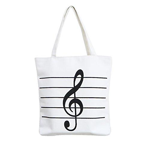 Notes de musique sur toile de sac à main sac fourre-tout Sac à provisions réutilisable épaule Sac de courses pour femme fille Cadeau blanc Blanc
