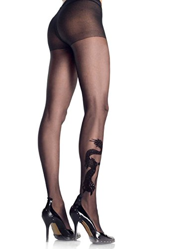 [Leg Avenue Women's Dragon Tattoo Pantyhose, Black, One Size] (Dragon Lady Sexy Costumes)