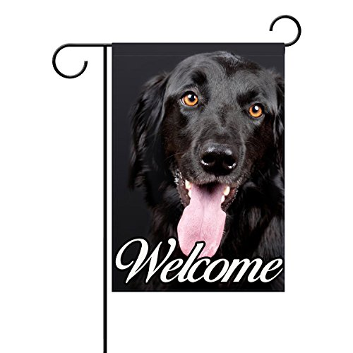Coolstuffs Black Flat Coated Retriever Garden Flag 12 X 18 Inch 100% Polyester Home Decor Flag