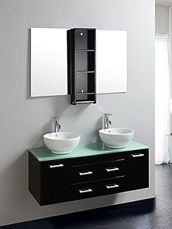 Mobile Arredo Bagno 120cm sospeso moderno con doppio lavabo e top ...
