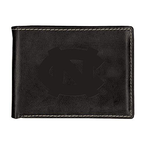 University of North Carolina Contrast Stitch Bifold Leather Wallet (Black)