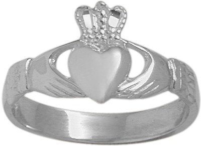 14 Karat White Gold Celtic Claddagh Ring - 6.25