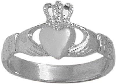 14 Karat White Gold Celtic Claddagh Ring - 6.25