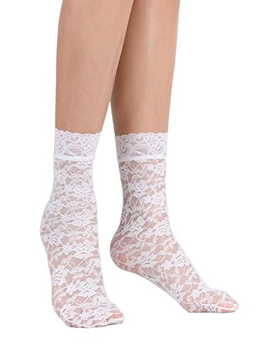 Nylon Lace Ruffle (Women's Lace Ankle Socks (One Size : Regular, Floral - White 3pair))