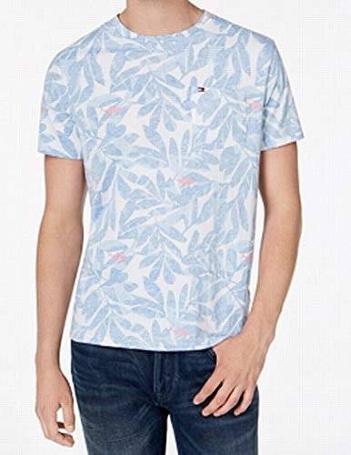Tommy Hilfiger Mens Large Leaf Print Crewneck Tee T-Shirt Blue L