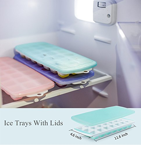 Amazon.com: Ice Cube Trays 3 Packs Flexible Silicone Ice Trays with Spill-Resistant Lids Easy Release Ice Trays Make 63 Ice Cube, BPA Free, Stackable, ...