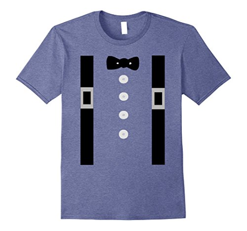 Mens Amish Costume Shirt Suspenders, Bow Tie Buttons 3XL Heather Blue