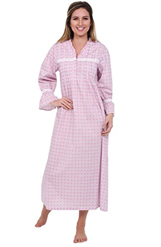 (Alexander Del Rossa Womens Romeo and Juliet Cotton Nightgown, Bell Sleeve Victorian Sleepwear, Large Pink Floral Print (A0522P88LG))