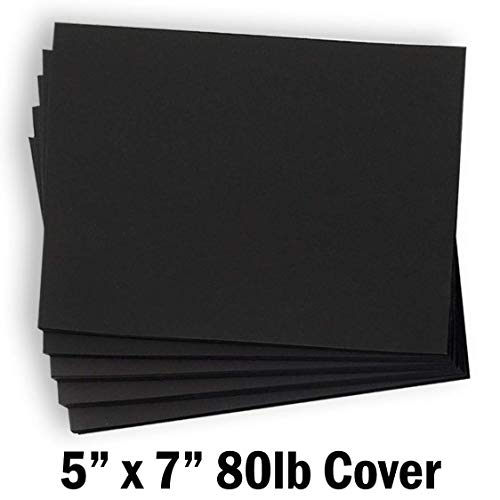 Hamilco Black Colored Cardstock Thick paper - Blank Note Greeting Invitations & Index Cards - 5 x 7
