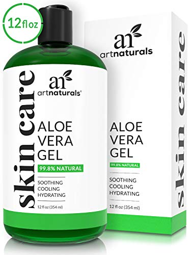 - ArtNaturals Organic Aloe Vera Gel - for Face, Hair and Body - 100% Pure Natural and Cold Pressed - for Sun Burn, Eczema, Bug or Insect Bites, Dry Damaged Aging skin, Razor Bumps and Acne - 12 oz.