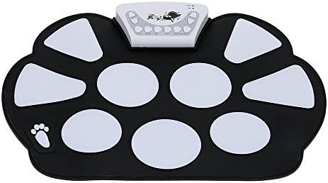 Andoer Drum Pad Kit Elettronico Portatile Roll up Silicio Pieghevole con Bacchetta del Tamburo
