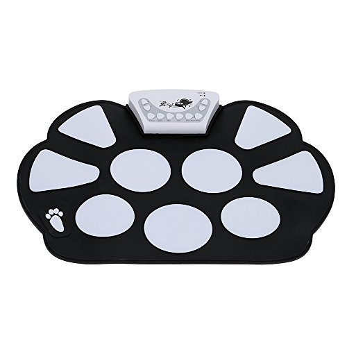 Coondmart Portable Electronic Roll up Drum Pad Kit Silicon Foldable with Stick Children's gifts, Beginner