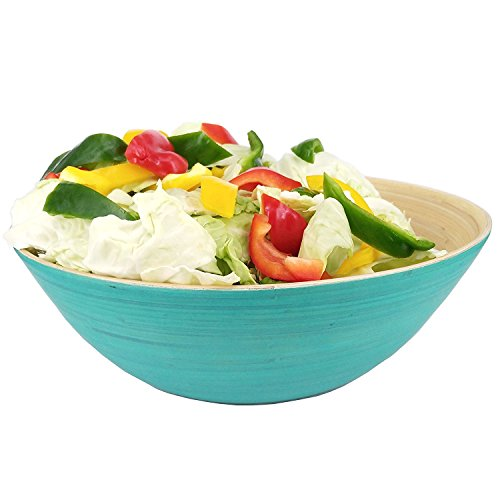 Ann Lee Design Wooden Bamboo Extra Large Salad Serving Bowl (Teal) XL ()