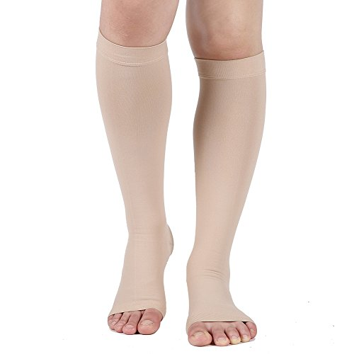 Compression Socks, Open Toe, 20-30 mmHg Graduated Compression Stockings for Men Women, Knee High Compression Sleeves for DVT, Maternity, Pregnancy, Varicose Veins, Relief Shin Splints, Edema, Beige L ()