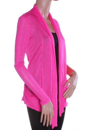 Light Weight Flyaway Cardigan Shawl Collar Shrug with Drape Pockets Cardi (Large, Hot - Fashion Hot Hollywood