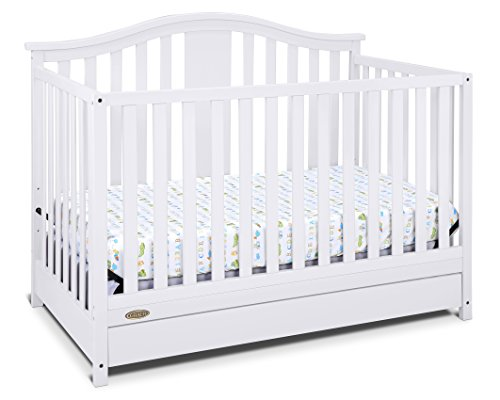 41TaUeBKo L - Graco Solano 4-in-1 Convertible Crib With Drawer, White, Easily Converts To Toddler Bed Day Bed Or Full Bed, Three Position Adjustable Height Mattress, Some Assembly Required (Mattress Not Included)
