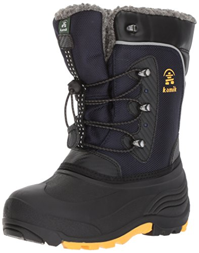Kamik Boys' Luke Snow Boot, Navy/Yellow, 3 Medium US Little Kid