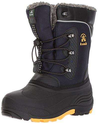Kamik Boys' Luke Snow Boot, Navy/Yellow, 3 Medium US Little Kid -