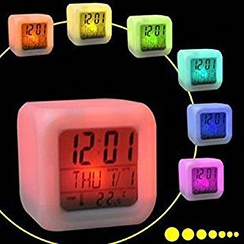 SIS Square 7-Colour LED Changing Digital Alarm Clock with snooze and Large Display-White