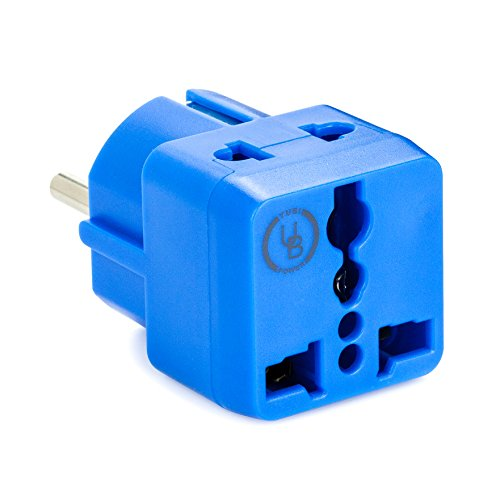 yubi power grounded 2 in 1 schuko plug adapter type e f. Black Bedroom Furniture Sets. Home Design Ideas