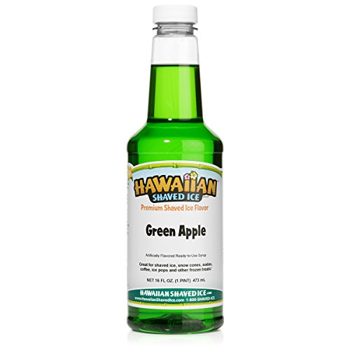 Hawaiian Shaved Ice Green Apple Snow Cone Syrup, 1 Pint