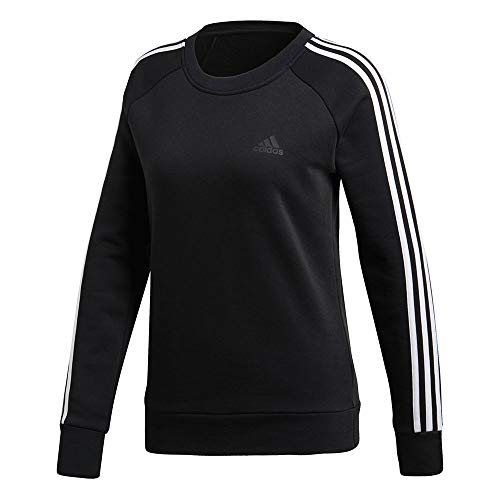 Adidas Fleece Pullover Sweatshirt - adidas Athletics Cotton Fleece 3 Stripes Sweatshirt, Black/White, X-Large
