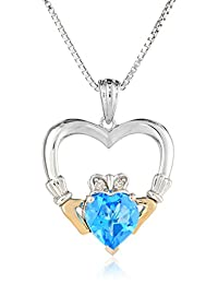 Sterling Silver and 14k Yellow-Gold Blue Topaz Heart and Diamond Claddagh Pendant Necklace, 18""