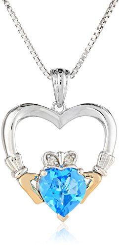 Sterling Silver and 14k Yellow-Gold Blue Topaz Heart and Diamond Claddagh Pendant Necklace, 18