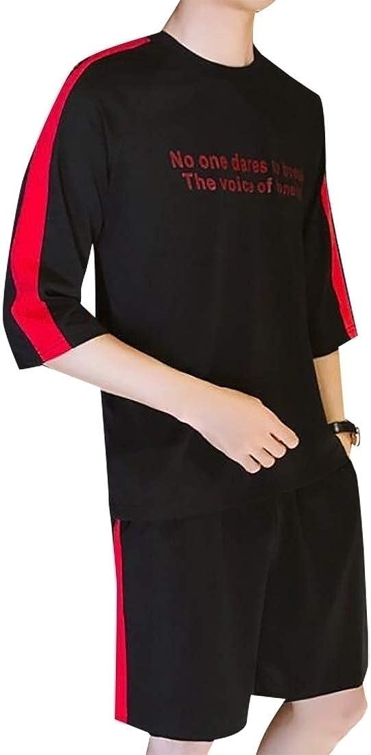 GAGA Mens Summer Printing Letter Print Shirt Tops Short Pant Suit