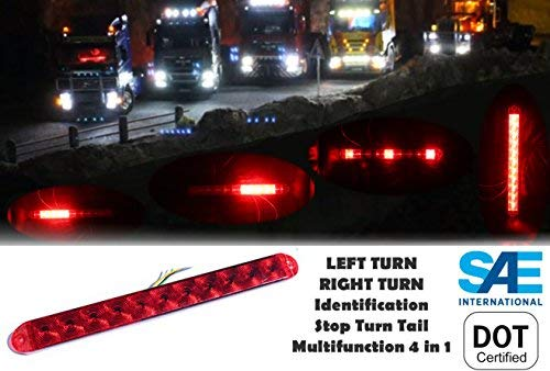 Flatbed Multifunction Center - 1 Red Waterproof Submersible Brake Stop Turn ID Light Bar Trailer Truck RV - Multifunction