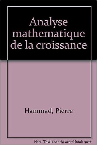 Livres gratuits Analyse mathématique de la croissance pdf