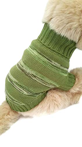 - Le Petit Chien Small Dog Puppy Cable Knit Sweater (Large, Green Striped)