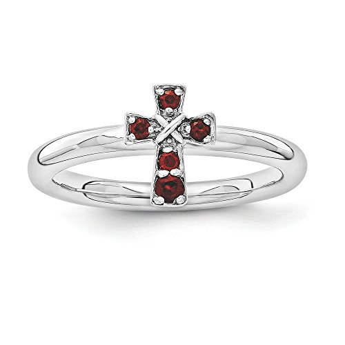 Rhodium Plated Sterling Silver Stackable Garnet 9mm Cross Ring Size 7 ()