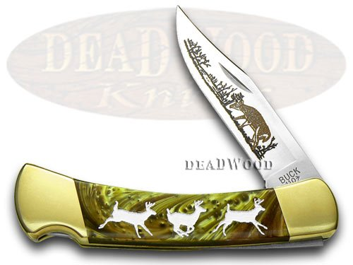 BUCK 110 Folding Hunter Custom Burly Oak Corelon Deer 1 400 Knives