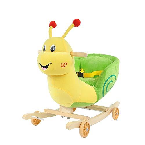 Snail Rocker - Outdoor Rocking Horse Rocking Horse Wooden, Plush Rocking Horse Toy, Yellow Snails Rocking Horse for Baby 1-3 Years , Wooden Rocking Horse/Toddler Rocker/Baby Rocker/Child Rocking Horse Gift/Boy&Girl