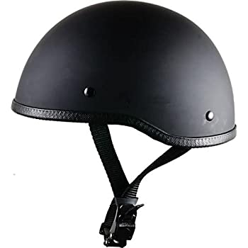 Bikerhelmets.com - SOA Inspired Motorcycle Helmet - DOT Approved Ultra Low Profile Beanie - Flat Black No Peak - 2X-Small