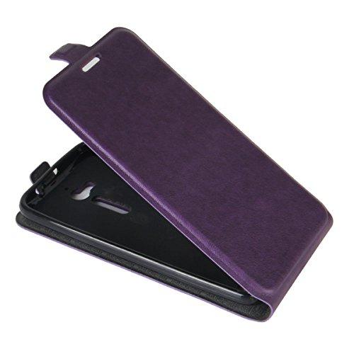 Para Asus Zenfone Go ZB500KL 5.0 inch Caso compacto de piel PU, arriba-abajo piel abierta PU Funda de piel con ranura para tarjeta y función de protección completa con cierre magnético Caja a prueba d Púrpura