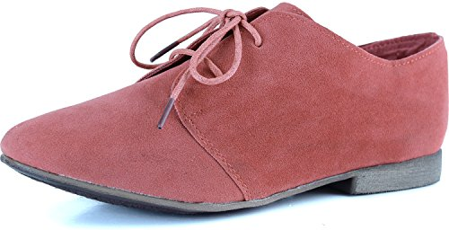 Breckelle's SANDY-31 Basic Classic Lace Up Flat Oxford Shoe,6 B(M) US,Rose,6 B(M) US