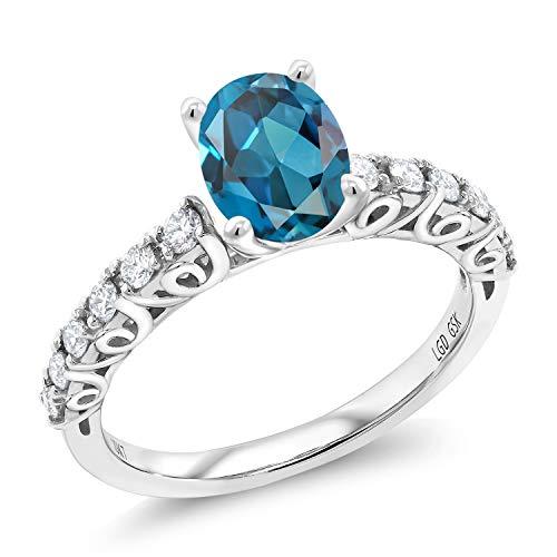(1.78 Ct Oval London Blue Topaz G/H Lab Grown Diamond 10K White Gold Ring (Size 5))