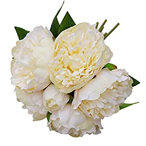 hwangli 1 Bouquet Artificial Peony Flower Garden DIY Party Home Holiday Decoration Milk White 83