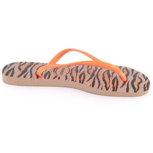 Havaianas Slim Animals Womens Synthetic Flip Flops Rose - 41/42 Brazilian