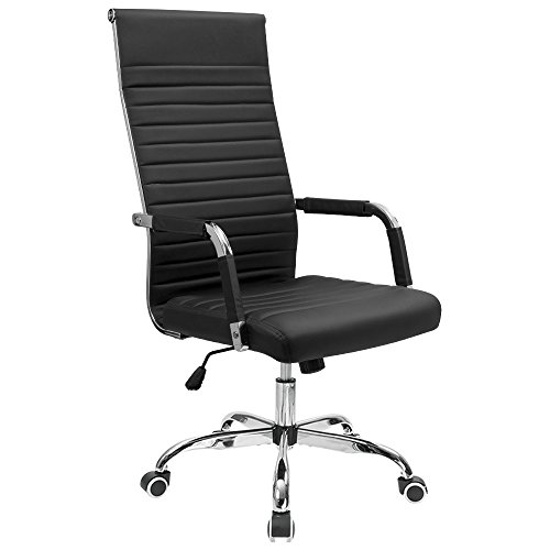 Furmax Ribbed Office Chair High Back PU Leather Executive Conference Chair Adjustable Swivel Chair with Arms (Black) ()