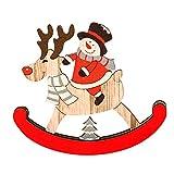 Dermanony Christmas Wooden Desktop Decorations Christmas Santa Claus Snowman Elk Pendant Ornament Home Decoration Gift Blue