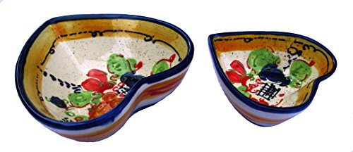 Cactus Canyon Ceramics Decorative Heart Shaped Bowl Set of 2 (Splash! Design) - Hand Painted in Spain