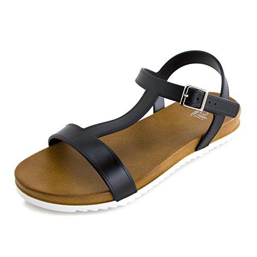 Kali Womens Open Toe Gladiator Gold Strap Flat Sandals (Adults)