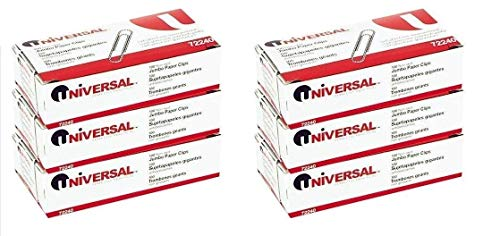- Universal Nonskid Paper Clips, Wire, Jumbo, Silver-100 ct, (6 Boxes)