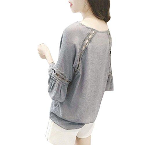 FNKDOR La gasa ocasional de las mujeres suelta la media blusa de las tapas de la blusa del verano de la camiseta de la manga Gris
